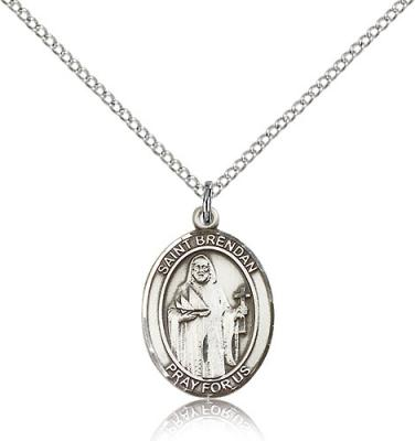 "Sterling Silver St. Brendan the Navigator Pendant, Sterling Silver Lite Curb Chain, Medium Size Catholic Medal, 3/4"" x 1/2"""