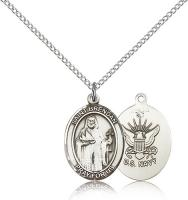 "Sterling Silver St. Brendan the Navigator / Navy P, Sterling Silver Lite Curb Chain, Medium Size Catholic Medal, 3/4"" x 1/2"""