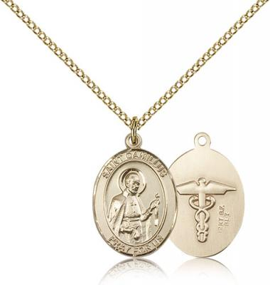 "Gold Filled St. Camillus of Lellis / Nurse Pendant, Gold Filled Lite Curb Chain, Medium Size Catholic Medal, 3/4"" x 1/2"""