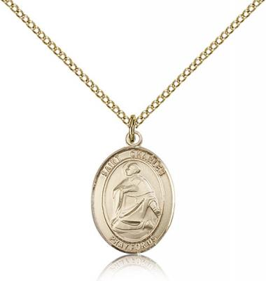 "Gold Filled St. Charles Borromeo Pendant, Gold Filled Lite Curb Chain, Medium Size Catholic Medal, 3/4"" x 1/2"""