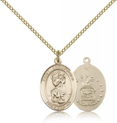 "Gold Filled St. Christopher / Air Force Pendant, Gold Filled Lite Curb Chain, Medium Size Catholic Medal, 3/4"" x 1/2"""