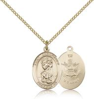 "Gold Filled St. Christopher / Army Pendant, Gold Filled Lite Curb Chain, Medium Size Catholic Medal, 3/4"" x 1/2"""