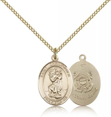 "Gold Filled St. Christopher / Coast Guard Pendant, Gold Filled Lite Curb Chain, Medium Size Catholic Medal, 3/4"" x 1/2"""