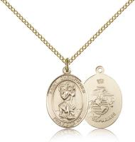 "Gold Filled St. Christopher / Marines Pendant, Gold Filled Lite Curb Chain, Medium Size Catholic Medal, 3/4"" x 1/2"""
