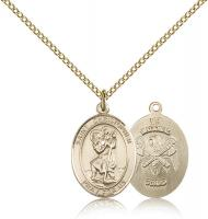 "Gold Filled St. Christopher / Nat'l Guard Pendant, Gold Filled Lite Curb Chain, Medium Size Catholic Medal, 3/4"" x 1/2"""
