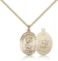 "Gold Filled St. Christopher / Navy Pendant, Gold Filled Lite Curb Chain, Medium Size Catholic Medal, 3/4"" x 1/2"""