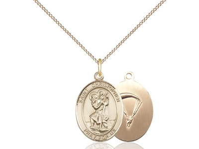 "Gold Filled St. Christopher / Paratrooper Pendant, GF Lite Curb Chain, Medium Size Catholic Medal, 3/4"" x 1/2"""