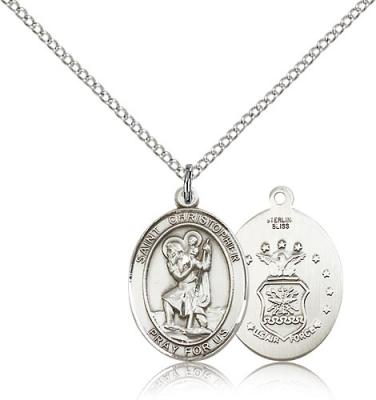 "Sterling Silver St. Christopher / Air Force Pendan, Sterling Silver Lite Curb Chain, Medium Size Catholic Medal, 3/4"" x 1/2"""