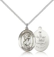"Sterling Silver St. Christopher / Army Pendant, Sterling Silver Lite Curb Chain, Medium Size Catholic Medal, 3/4"" x 1/2"""