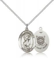 "Sterling Silver St. Christopher / Coast Guard Pend, Sterling Silver Lite Curb Chain, Medium Size Catholic Medal, 3/4"" x 1/2"""