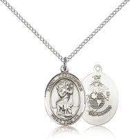 "Sterling Silver St. Christopher / Marines Pendant, Sterling Silver Lite Curb Chain, Medium Size Catholic Medal, 3/4"" x 1/2"""