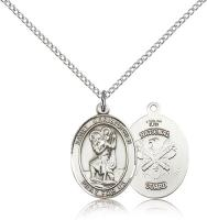 "Sterling Silver St. Christopher / Nat'l Guard Pend, Sterling Silver Lite Curb Chain, Medium Size Catholic Medal, 3/4"" x 1/2"""