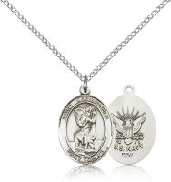 "Sterling Silver St. Christopher / Navy Pendant, Sterling Silver Lite Curb Chain, Medium Size Catholic Medal, 3/4"" x 1/2"""