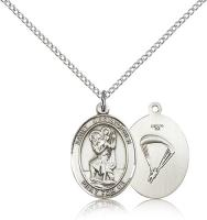 "Sterling Silver St. Christopher / Paratrooper Pend, Sterling Silver Lite Curb Chain, Medium Size Catholic Medal, 3/4"" x 1/2"""