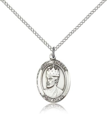 "Sterling Silver St. Edward the Confessor Pendant, Sterling Silver Lite Curb Chain, Medium Size Catholic Medal, 3/4"" x 1/2"""