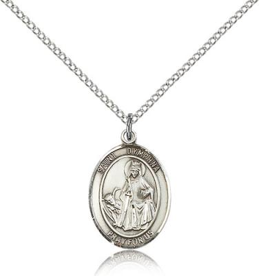 "Sterling Silver St. Dymphna Pendant, Sterling Silver Lite Curb Chain, Medium Size Catholic Medal, 3/4"" x 1/2"""