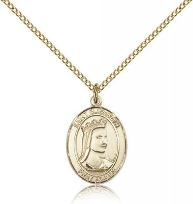 "Gold Filled St. Elizabeth of Hungary Pendant, Gold Filled Lite Curb Chain, Medium Size Catholic Medal, 3/4"" x 1/2"""