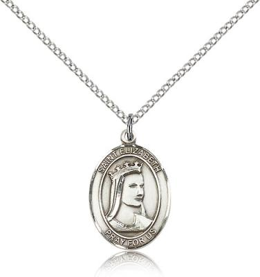 "Sterling Silver St. Elizabeth of Hungary Pendant, Sterling Silver Lite Curb Chain, Medium Size Catholic Medal, 3/4"" x 1/2"""