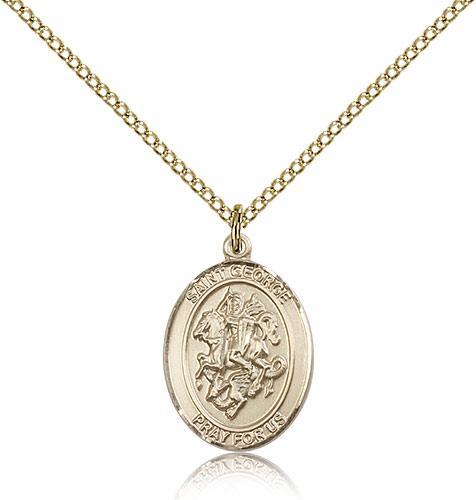 Gold filled st george pendant gold filled lite curb chain medium gold filled st george pendant gold filled lite curb chain medium size catholic medal aloadofball Image collections
