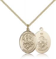 "Gold Filled St. George / Marines Pendant, Gold Filled Lite Curb Chain, Medium Size Catholic Medal, 3/4"" x 1/2"""