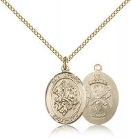"Gold Filled St. George / Nat'L Guard Pendant, Gold Filled Lite Curb Chain, Medium Size Catholic Medal, 3/4"" x 1/2"""