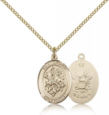 "Gold Filled St. George / Navy Pendant, Gold Filled Lite Curb Chain, Medium Size Catholic Medal, 3/4"" x 1/2"""