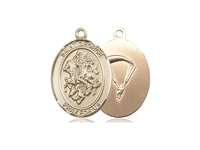 "Gold Filled St. George/Paratrooper Pendant, GF Lite Curb Chain, Medium Size Catholic Medal, 3/4"" x 1/2"""