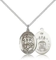 "Sterling Silver St. George / Air Force Pendant, Sterling Silver Lite Curb Chain, Medium Size Catholic Medal, 3/4"" x 1/2"""