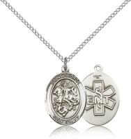 "Sterling Silver St. George / Emt Pendant, Sterling Silver Lite Curb Chain, Medium Size Catholic Medal, 3/4"" x 1/2"""