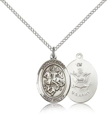"Sterling Silver St. George / Army Pendant, Sterling Silver Lite Curb Chain, Medium Size Catholic Medal, 3/4"" x 1/2"""