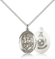 "Sterling Silver St. George / Marines Pendant, Sterling Silver Lite Curb Chain, Medium Size Catholic Medal, 3/4"" x 1/2"""