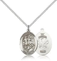 "Sterling Silver St. George / Nat'L Guard Pendant, Sterling Silver Lite Curb Chain, Medium Size Catholic Medal, 3/4"" x 1/2"""