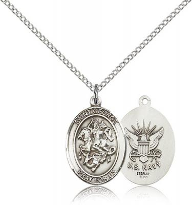 "Sterling Silver St. George / Navy Pendant, Sterling Silver Lite Curb Chain, Medium Size Catholic Medal, 3/4"" x 1/2"""