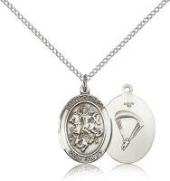 "Sterling Silver St. George/Paratrooper Pendant, Sterling Silver Lite Curb Chain, Medium Size Catholic Medal, 3/4"" x 1/2"""