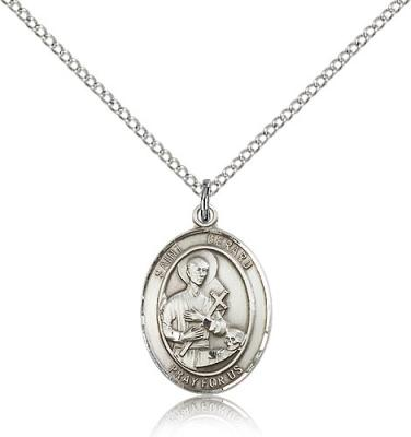 "Sterling Silver St. Gerard Majella Pendant, Sterling Silver Lite Curb Chain, Medium Size Catholic Medal, 3/4"" x 1/2"""