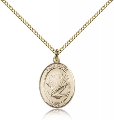 "Gold Filled Holy Spirit Pendant, Gold Filled Lite Curb Chain, Medium Size Catholic Medal, 3/4"" x 1/2"""