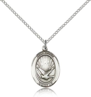 "Sterling Silver Holy Spirit Pendant, Sterling Silver Lite Curb Chain, Medium Size Catholic Medal, 3/4"" x 1/2"""