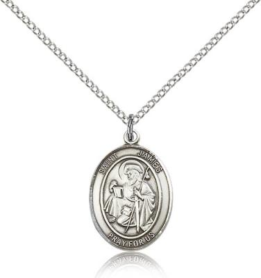 "Sterling Silver St. James the Greater Pendant, Sterling Silver Lite Curb Chain, Medium Size Catholic Medal, 3/4"" x 1/2"""
