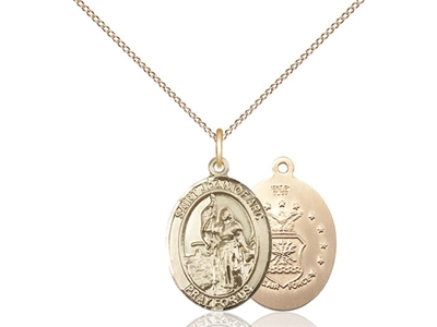 "Gold Filled St. Joan Of Arc / Air Force Pendant, GF Lite Curb Chain, Medium Size Catholic Medal, 3/4"" x 1/2"""