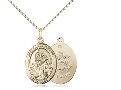 "Gold Filled St. Joan Of Arc / Army Pendant, GF Lite Curb Chain, Medium Size Catholic Medal, 3/4"" x 1/2"""