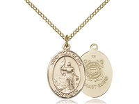 "Gold Filled St. Joan Of Arc /Coast Guard Pendant, GF Lite Curb Chain, Medium Size Catholic Medal, 3/4"" x 1/2"""