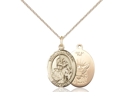 "Gold Filled St. Joan Of Arc / Navy Pendant, GF Lite Curb Chain, Medium Size Catholic Medal, 3/4"" x 1/2"""