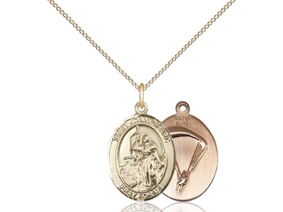 "Gold Filled St. Joan Of Arc / Paratrooper Pendant, GF Lite Curb Chain, Medium Size Catholic Medal, 3/4"" x 1/2"""