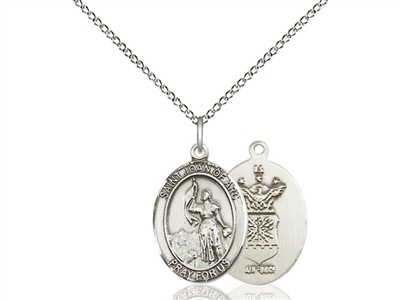 "Sterling Silver St. Joan Of Arc / Air Force Pendan, SS Lite Curb Chain, Medium Size Catholic Medal, 3/4"" x 1/2"""