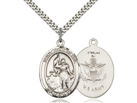 "Sterling Silver St. Joan Of Arc / Army Pendant, SS Lite Curb Chain, Medium Size Catholic Medal, 3/4"" x 1/2"""