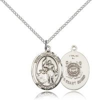"Sterling Silver St. Joan of Arc /Coast Guard Penda, Sterling Silver Lite Curb Chain, Medium Size Catholic Medal, 3/4"" x 1/2"""