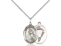"Sterling Silver St. Joan Of Arc / Paratrooper Pend, SS Lite Curb Chain, Medium Size Catholic Medal, 3/4"" x 1/2"""