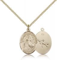 "Gold Filled St. Joseph of Cupertino Pendant, Gold Filled Lite Curb Chain, Medium Size Catholic Medal, 3/4"" x 1/2"""