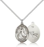 "Sterling Silver St. Joseph of Cupertino Pendant, Sterling Silver Lite Curb Chain, Medium Size Catholic Medal, 3/4"" x 1/2"""
