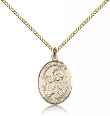 "Gold Filled St. Joseph Pendant, Gold Filled Lite Curb Chain, Medium Size Catholic Medal, 3/4"" x 1/2"""